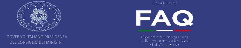 Logo del Governo italiano a sinistra e scritta FAQ a destra